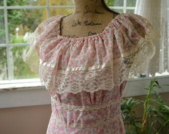 Vintage Pink Floral Dress - M