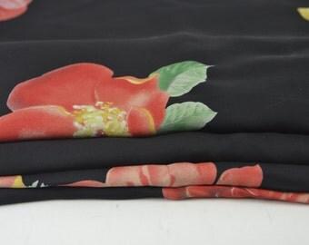 Vintage Black Large Rose Silk Fabric 2 3/4 yard