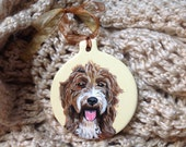 Custom made ornament of your pet 3.4 in., dog portrait, hand painted pet ornament, Valentine's  gift