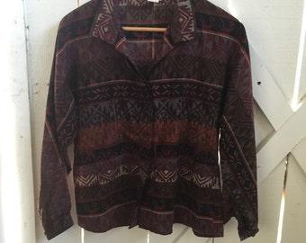 Cool Vintage aztec print button down shirt s/m