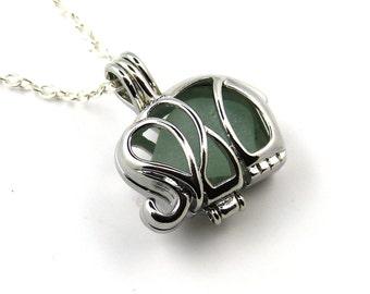 Aqua sea glass elephant Charm  Locket Necklace