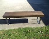 Bench, Coffee Table, Wooden Bench. Industrial Wood And Steel Bench, Dining Bench, Furniture, Metal Legs, Entry Bench, TV Stand, 60""