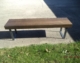 Bench Coffee Table Wooden Bench Industrial Wood And Steel Bench Dining Bench Furniture Metal Legs Entry Bench TV Stand 60""