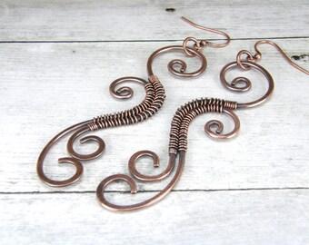Long Tribal Copper Earrings, Wire Wrapped Copper Earrings, Antiqued Hammered Copper Wire Earrings