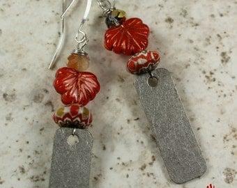 Urban Gypsy Vintage Trade Bead Dangle Style Earring Handcrafted Silver Drop Earring