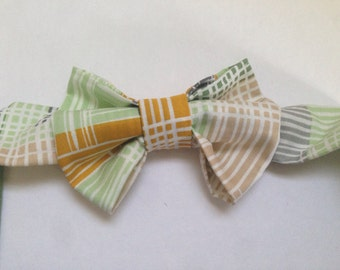 handmade Bow tie for your little guy in multi color stripes with velcro closure