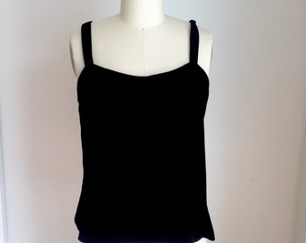 90's Sz M Velvet Rayon Silk Camisole Top Blouse Black Holiday Party