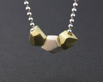 Triple Facet Pendant: Sterling Silver and Brass