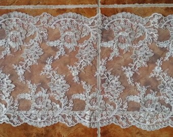 Ivory Alencon Lace Fabric Floral Wedding Lace Fabric With Silver Thread For Dress Coat Fabric 13 Inches Wide 1 Yard