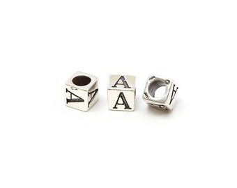 Sterling Silver 4mm Alphabet Blocks A - 1pc (3167)