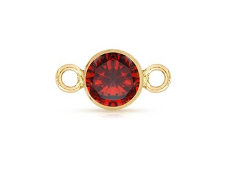 14Kt Gold Filled 4mm Garnet CZ Bezel with 2 closed rings - 2pcs High Quality 15% discounted (3909)/1