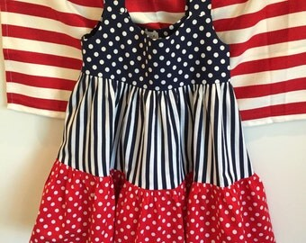 Polka Dot Popsicle, ruffle-tiered cotton sundress (Patriotic)