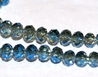 25 pcs 4x3mm Transparent Grey with Cobalt Blue Highlights Rondelle Glass Beads TGwC
