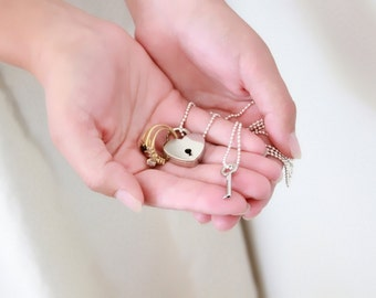 Wedding Ring Holder Necklace, ring pillow alternative, ring bearer pillow,  wedding ring necklace, heart lock necklace, ring bearer necklace