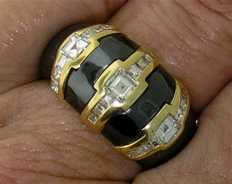 ITALIAN BULGARI 3-STONE Diamond & Hematite Ring in 18k Yellow Gold