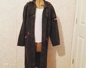 Men's rare vintage Aztec trench coat gray denim mens vintage cvlothes men's clothes Aztec style long coat denim jacket snap buttons size med