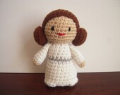 Crocheted, Handmade Amigurumi Star Wars Princess Leia Doll