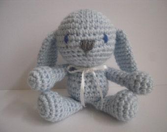Crocheted Stuffed Amigurumi Easter Bunny Rabbit Blue