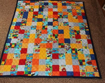 Patchwork Kiddie Quilt - Colorful Handmade Quilt - I SPY Quilt - Twin Size Boy Quilt - Ready to Ship