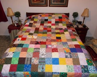 Custom Made Quilt Scrappy Patchwork Quilt - Queen Size Quilt - Custom Quilt Made to Order - EVERYTHING SUPPLIED!!!