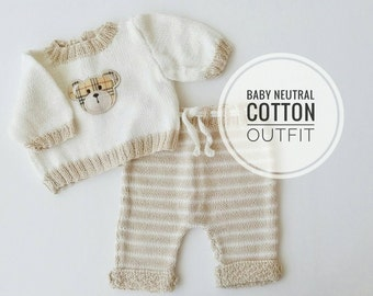 Baby Outfit, Baby Knit Cotton Outfit, Neutral Gender Baby Set, Baby Knit Pants and Sweater, Baby Gift idea