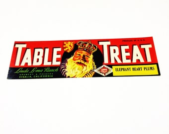 Vintage New Old Stock Unused TABLE TREAT Vegetable / Fruit Crate Label