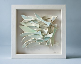 ceramic wall art, ceramic tile, pastel School of Fish, modern wall art, nautical, home decor, gift for parents, anniversary, new home