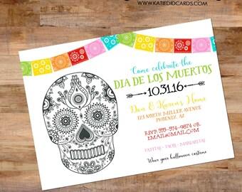 day of the dead invitation dia de los muertos halloween fiesta couples shower Papel Picado sugar skull rehearsal dinner engagement party 873