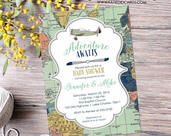 Adventure awaits baby shower invitation World map Vintage Airplane Travel Theme gender neutral reveal sip and see boy | 12124 Katiedid Cards