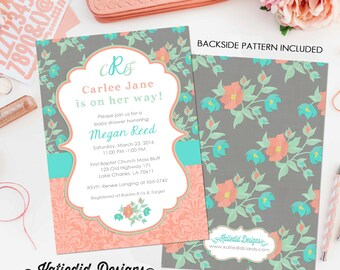 Baby girl shower invitation floral monogram baby sprinkle gender reveal bash mint green coral baptism (item 1335) shabby chic invitations