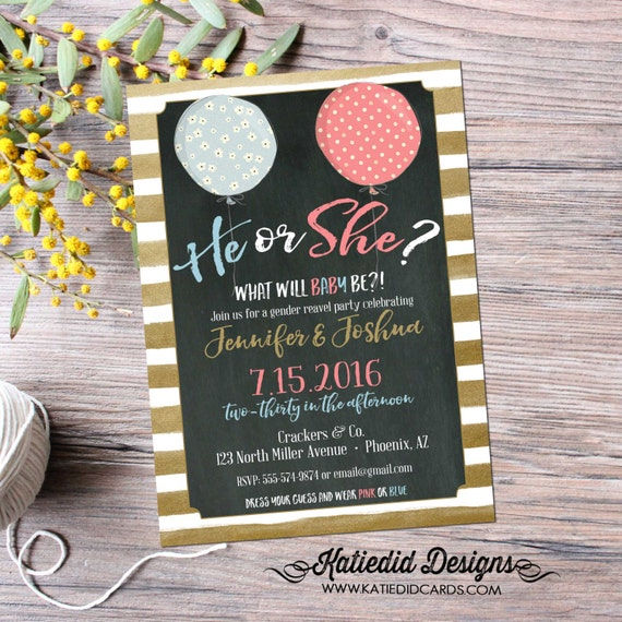 he or she gender reveal invitation Ready to pop baby shower surprise gender reveal pink or blue reveal balloons co-ed  1464 Katiedid Designs