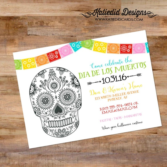 day of the dead invitation dia de los muertos halloween fiesta couples shower Papel Picado sugar skull rehearsal dinner engagement party 873