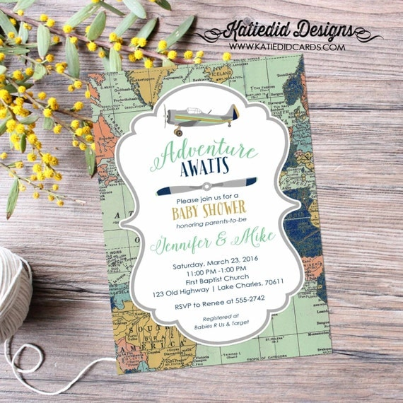 Adventure awaits baby shower invitation vintage airplane map birthday shabby plane burlap sip see mint navy 12124 diaper world couples