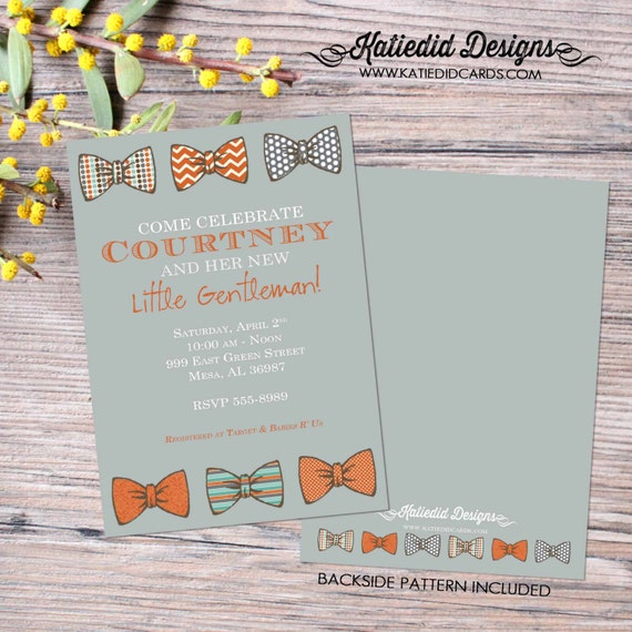 bow tie baby shower invitation little gentleman baby boy shower baptism christening couples shower bash (item 1202) shabby chic invitations