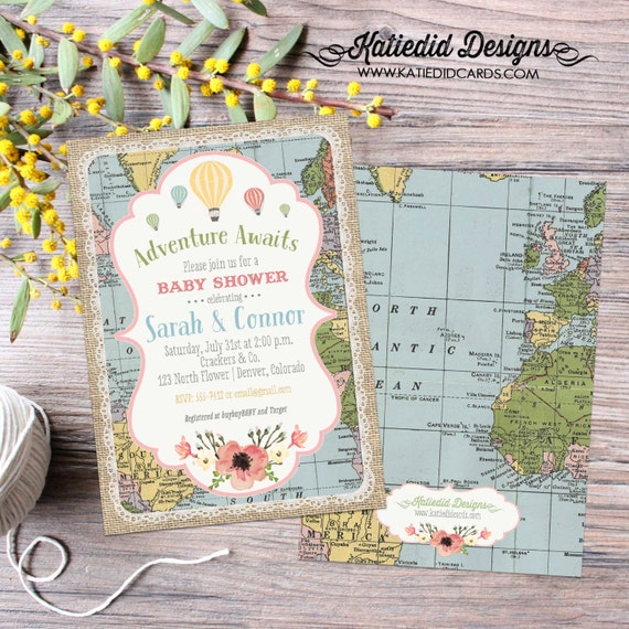 world map baby shower | rustic shower invitations gender neutral | Traveling from Miss to Mrs | floral chic invite | 1455 Katiedid Designs