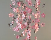 Flower mobile - in gray and pink, nursery mobile, baby girl mobile, photo prop, baby mobile