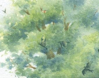 ACEO Original watercolor painting - Chirping away