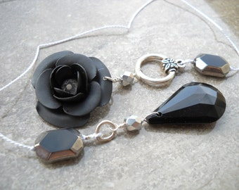 """Black rose silk cord bookmark: """"Sable"""" - Gifts under 10, gifts for readers, gifts for bookworms, silver and black bookmark, rose bookmark"""