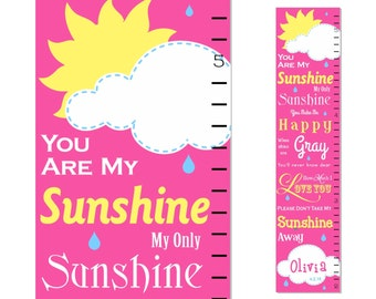 You Are My Sunshine Canvas Growth Chart Pink Girl