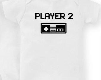 Player 2 - Baby Gamer Gear  - Zelda -  Mario - Brother - Legend - Nerdy - Video Games - Fandom - Baby Shower - Pregnancy - Xbox - PS4