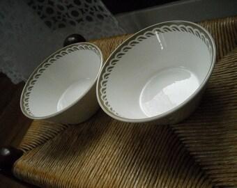 Syralite Bowls Syracuse China Pair White with Taupe Swirl Diner