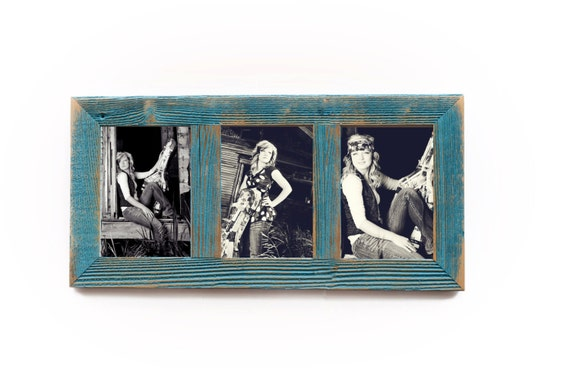 3 Hole 8x10 Barnwood Vertical Collage Picture Frame Ocean