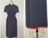 Vintage 1940s Dress / Navy and White Polka Dot with Peek A Boo Hem / R&K Originals / Day Dress / Small Medium