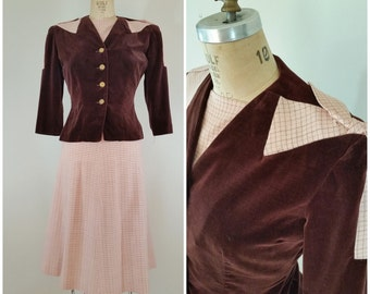 Vintage 1940s Skirt Suit / Burgundy Velvet and Pink Checks / 2 Piece Set / Vintage Suit / Small