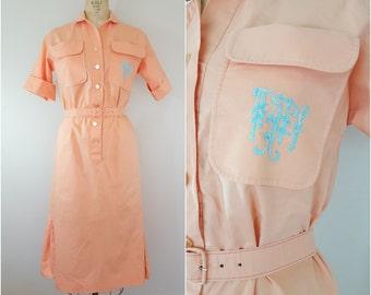 Vintage 1950s Dress / Initial Dress / Orange Sherbet / Medium Large