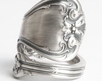 Silver Shell Ring, Sterling Silver Spoon Ring, Victorian Ring, Whiting Silver, Antique Spoon Ring, Duke of York, Adjustable Ring Size (6052)