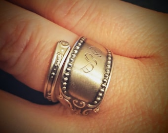 Sterling Silver Spoon Ring, Petite silver Ring, Antique Gorham Silver, Milgrain Ring, Engraved S, Handcrafted Ring, Personalized Size (6118)