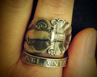 Lighthouse Jewelry, Nautical Ring, Sterling Silver Spoon Ring, Atlantic City Ring, Nautical Gifts, Fish Ring, Adjustable Ring Size (6163)