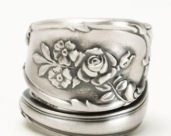 Rose Ring, Sterling Silver Spoon Ring, Vintage Spoon Ring, Flower Spoon Ring, Rose Flower Ring, Chunky Ring, Rosebud, Gardener Gifts (5811)