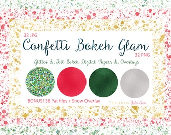 Confetti Bokeh Glam Digital Papers and Overlays + BONUS .pat files